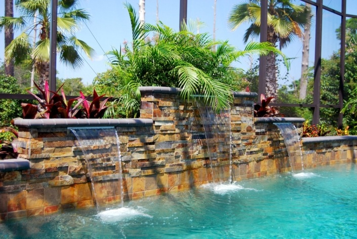 outdoor pool stone wall