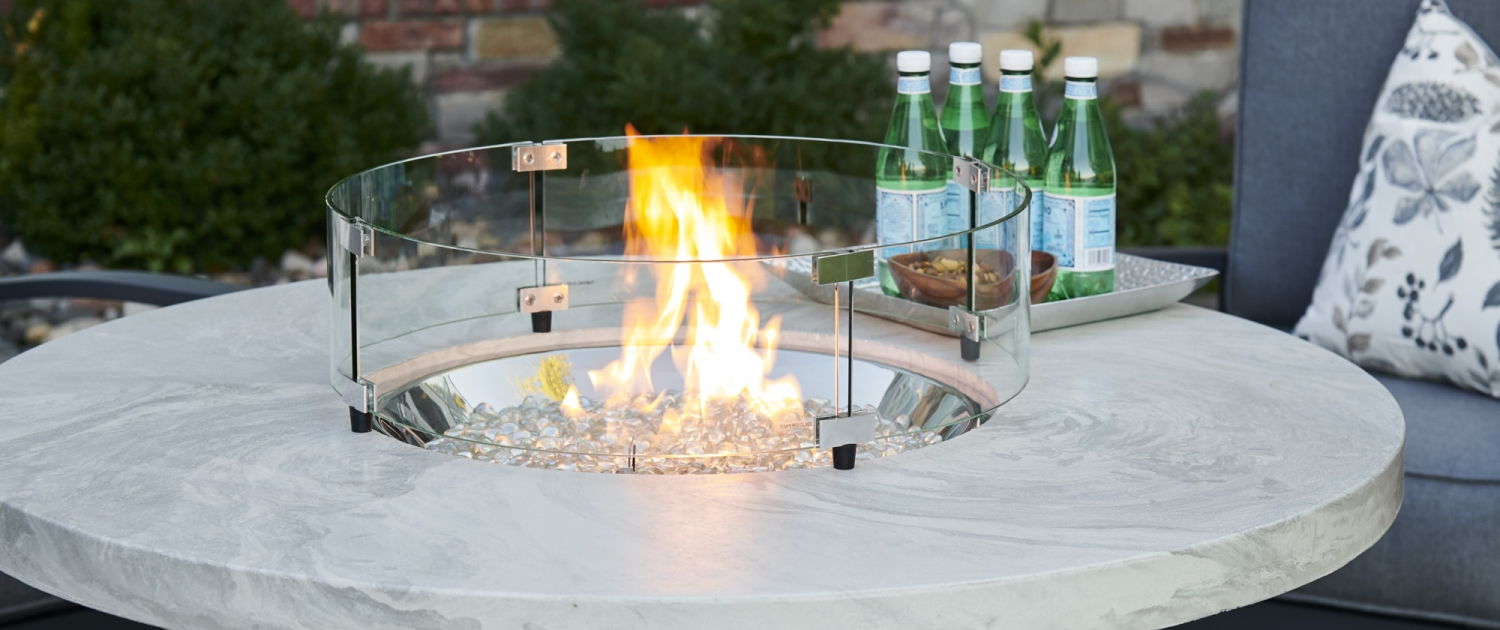 OGR White Onyx Beacon Chat Height Gas Fire Pit Table