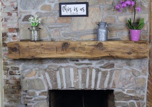 mantle made of reclaimed wood