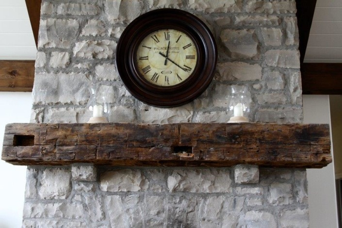 rustic wooden mantle
