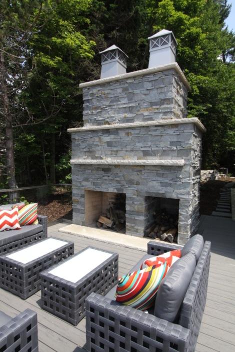 backyard dual fireplace